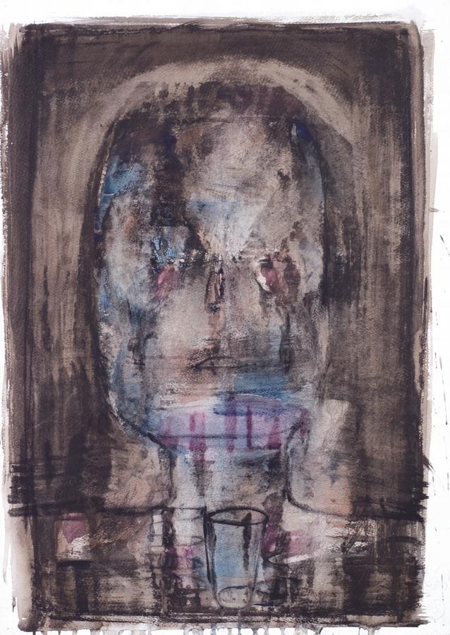 Glava (24), 1950, močilo, tempera papir, 60x42cm