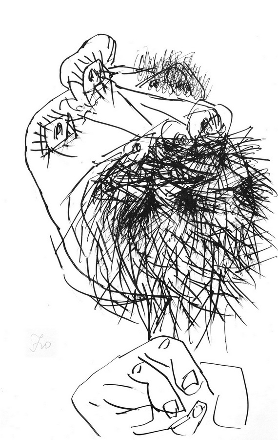 Glava (T151), 1948-50, tuš pero papir, 43x28cm
