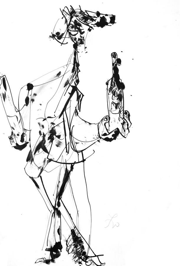 Iz krčme (1395), 1948-50, tuš, močilo, papir, 50x35cm