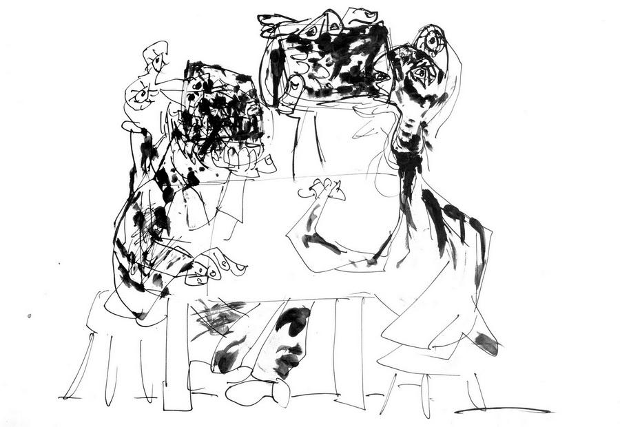 Krčma (T158), 1948-50, tuš, pero, papir, 350x500cm