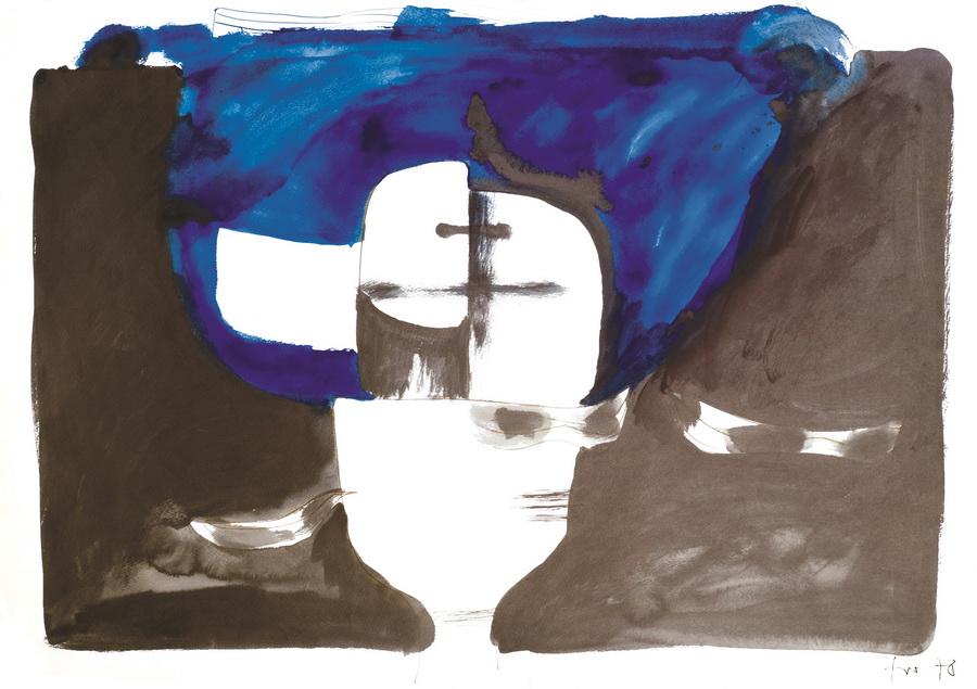 Lubanja 9 (173), 1978., tempera, tinta, papir, 59,5x84,5cm