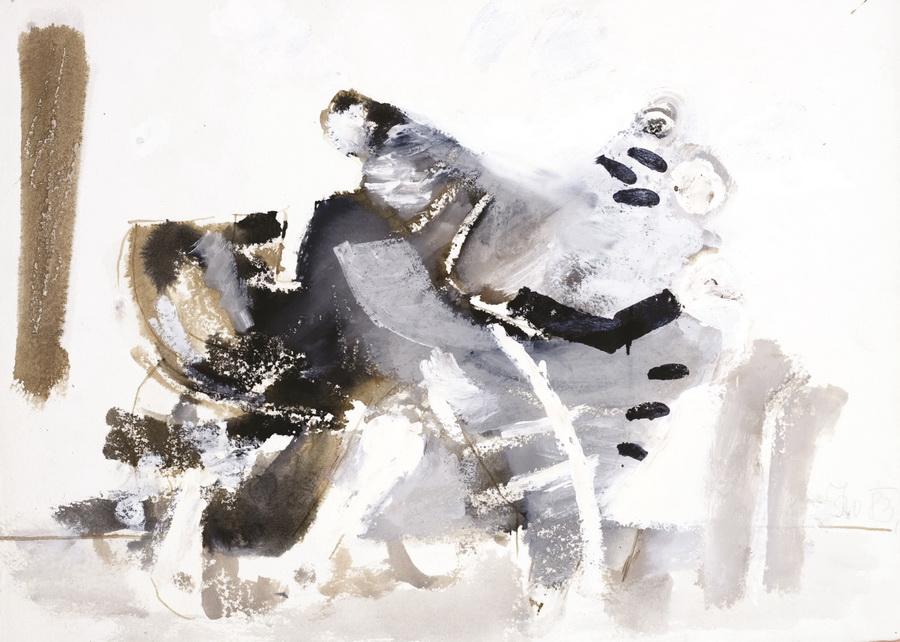 Mačak (708), 1983., močilo, bijela tempera, papir, 44x62cm