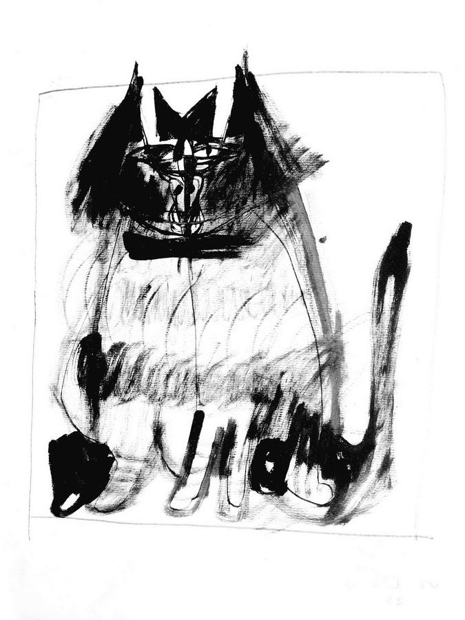 Mačka 6 (25) 1950, tus-pero,42x30cm