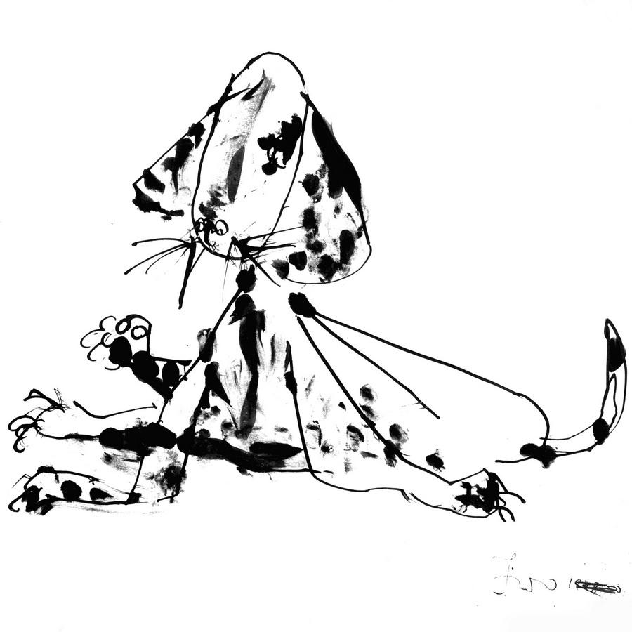 Pas, 1948-1950, tuš-pero, papir, 28,5x29cm