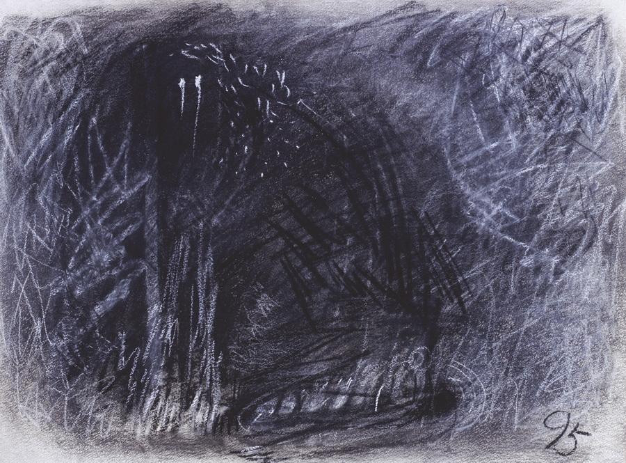 Pas (424), 1995., ugljen, pastel, papir, 57x76cm