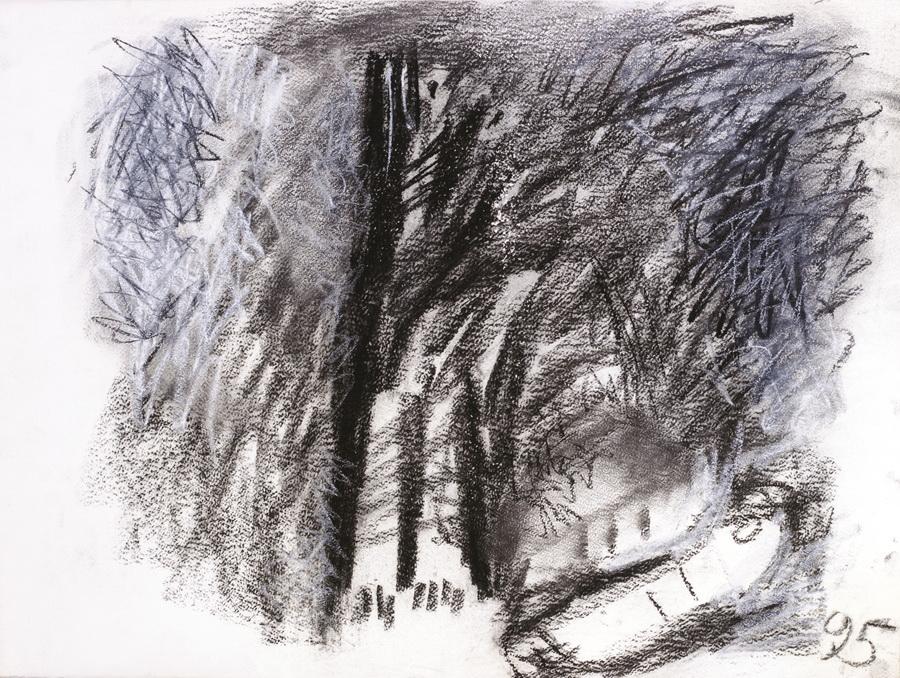 Pas, (432), 1995., ugljen, pastel, papir, 57x76cm