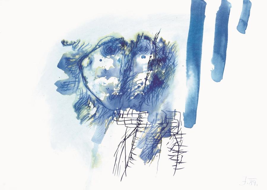 Profil (2380), 1990., tempera, papir, 50x70,5cm