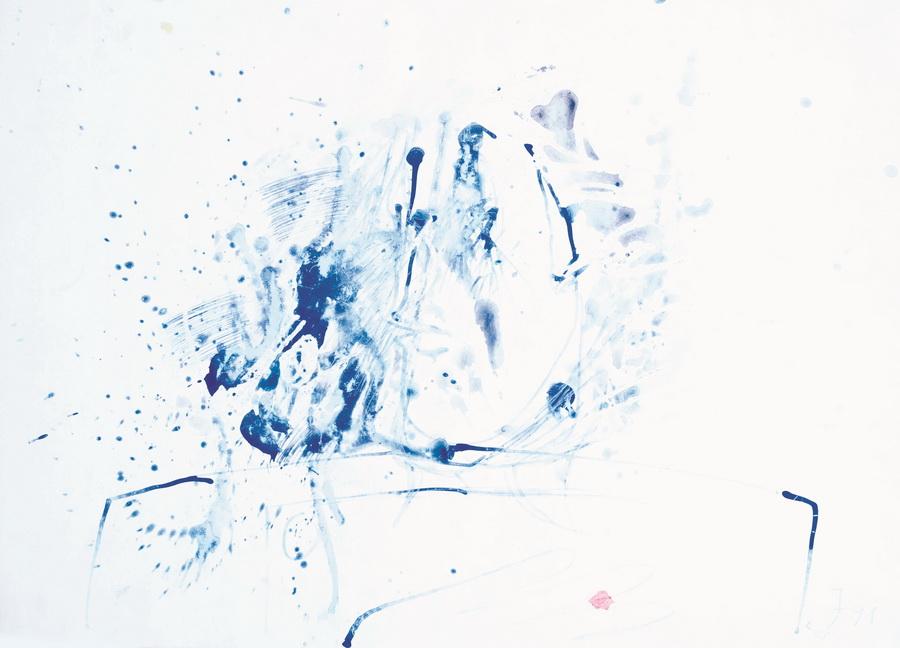 Pušač, 1991., močilo, tempera, papir, 50x71cm