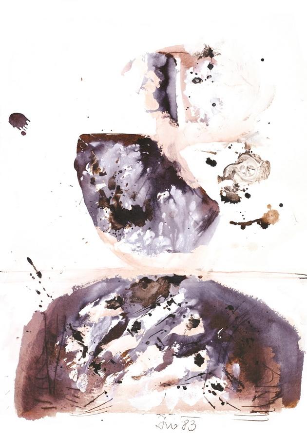 Pušač (26), 1983., močilo, bijela tempera, papir, 61,5x43cm