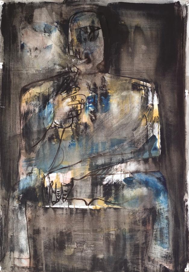 Pušač (35), 1950. , tempera papir, 84x60cm