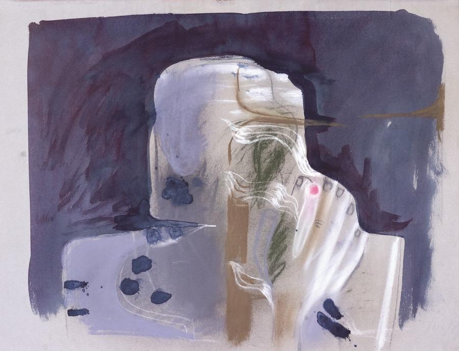 Pušač (409), 1978., boje, pastel, papir, 48x62,5cm