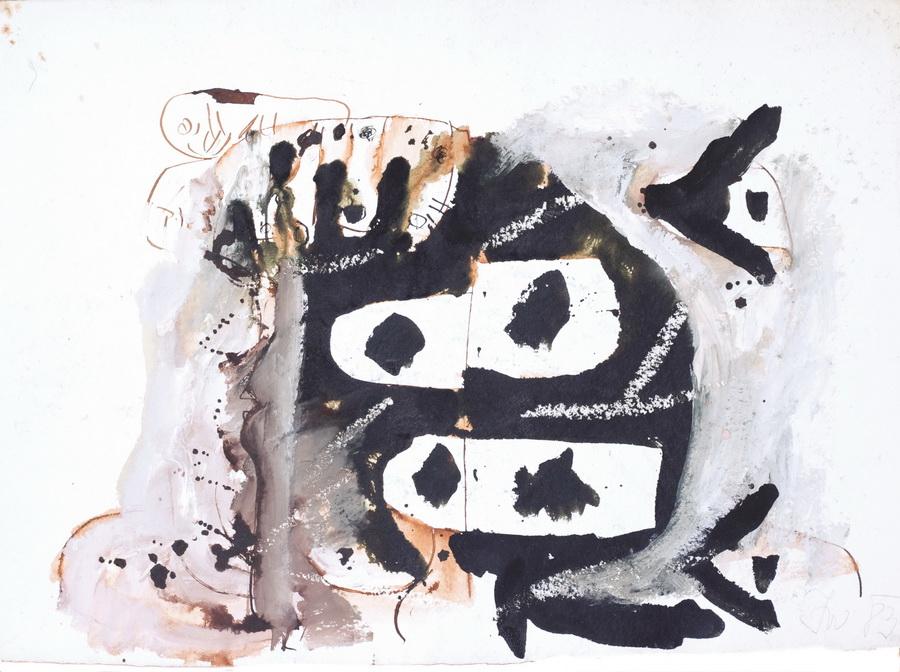 Pušač (491), 1983., močilo, bijela tempera, papir, 45x63cm