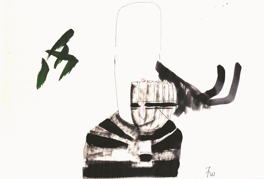 Pušač, oko 1978., tuš, pero, papir, 44x63cm