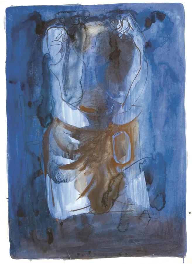 Sjedeći akt (13), 1950., tempera, papir, 84x60cm
