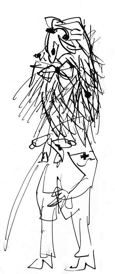 Slijepac (T149), 1948-50., olovka tuš papir, 42,5x18cm