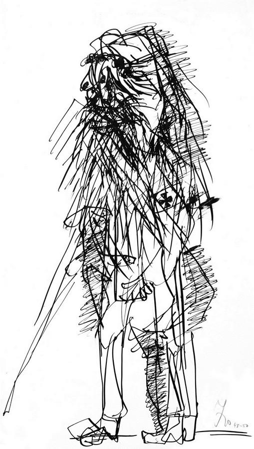 Slijepac (T31), 1948-50, tuš pero papir, 61x35cm