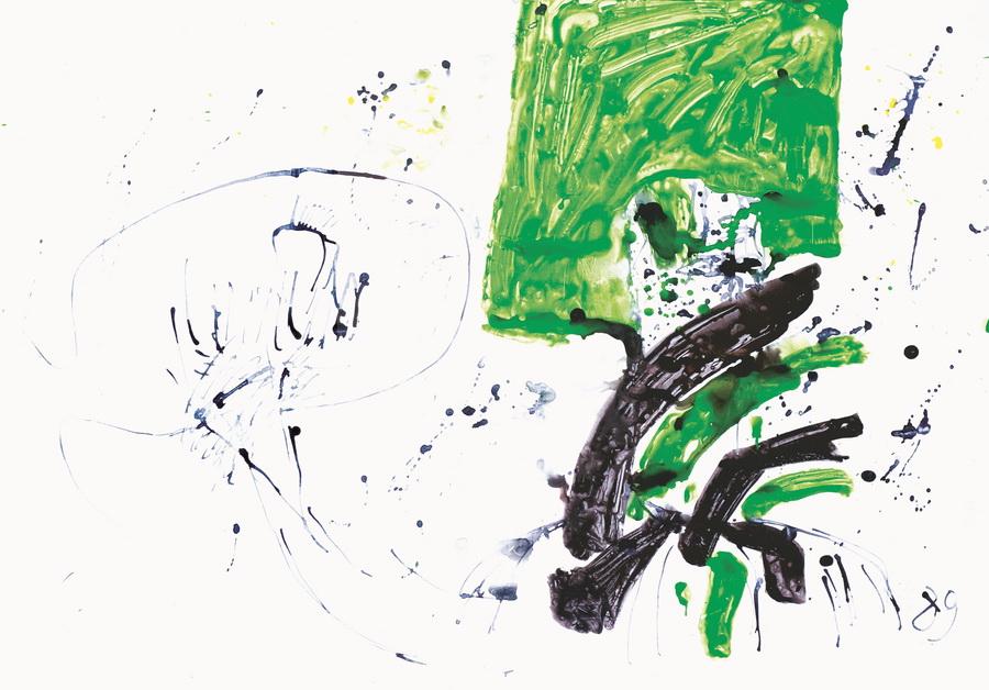 Slikar (2882), 1989, močilo, tempera, papir, 70x100cm