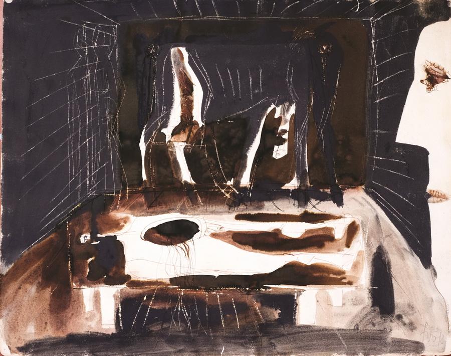 Ubijeni 1 (Z337), 1978., tempera papir, 49x61,5cm