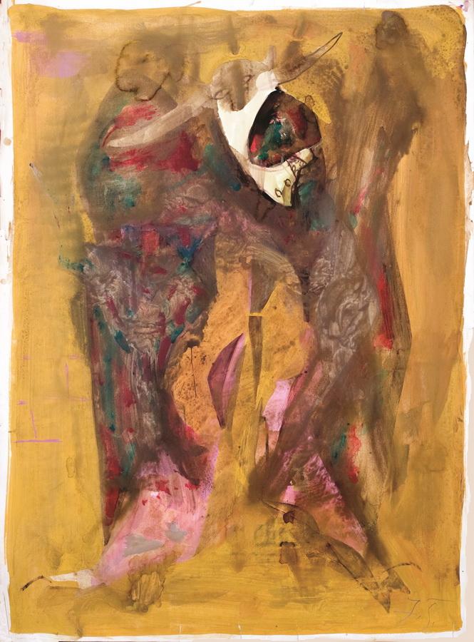 Zaklano govedo (15), 1950-55., tempera papir, 88,5x66cm