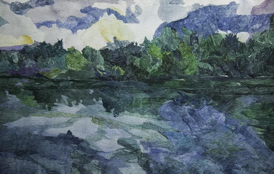 Nepoznato doba dana 3, akvarel na papiru, 38x56