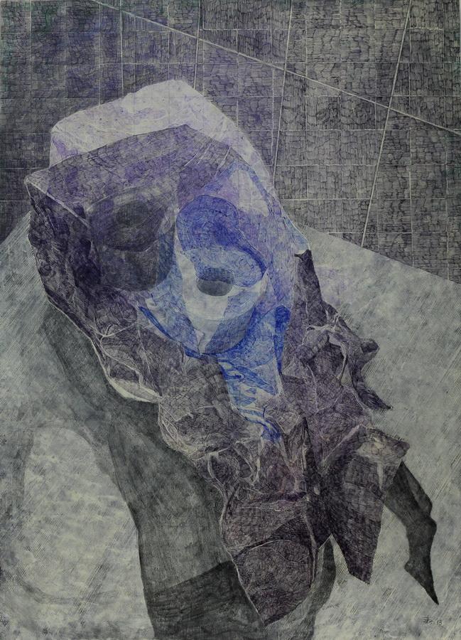 Nije Violeta, 2013., kombinirana tehnika na papiru i mediapanu, 61x84