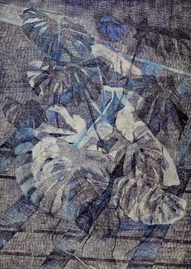 Preklapanja, 2013., kombinirana tehnika na papiru i mediapanu, 61x84