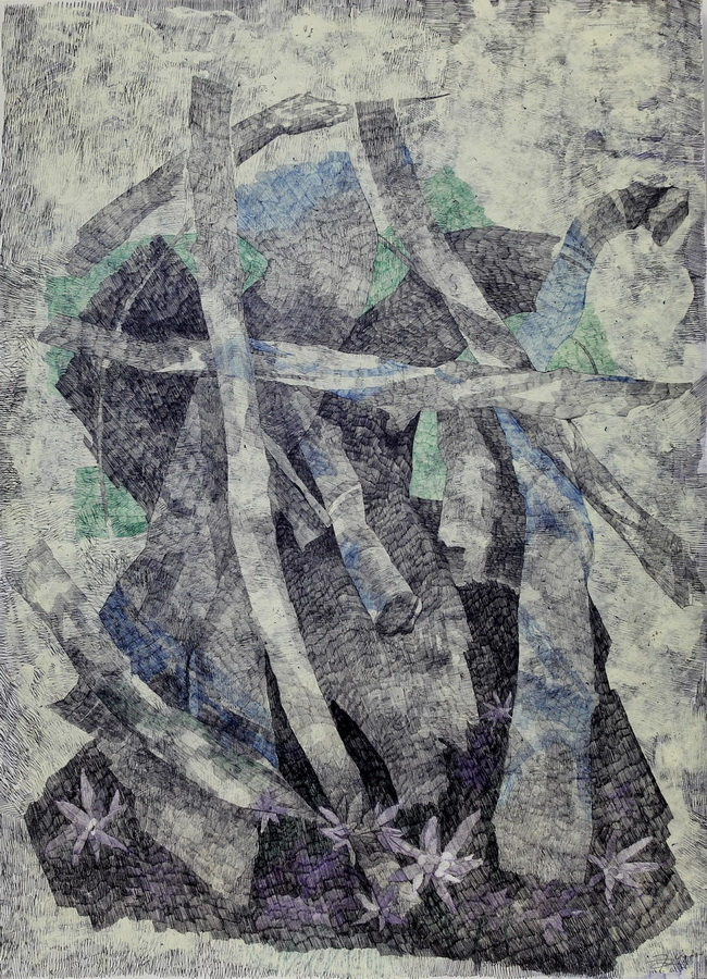 Runolist, 2013., kombinirana tehnika na papiru i mediapanu, 61x84
