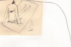 Adriatic plaža - olovka, kolaž i marker na papiru, 13x15cm, 2018.