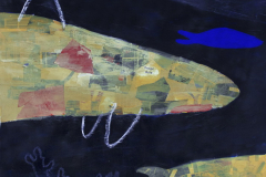 Drage duše - kolaž, akril, pastele,  grafitna olovka, kreda, marker na papiru, 70x100cm, 2020.