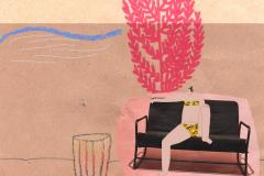 Jablan - kolaž, marker, kreda, drvena bojica, digitalni crtež, 21x29cm, 2019.