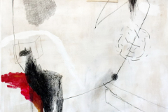 Komfort zona - akril, ugljen, olovka, kreda  na papiru, 70,7x100cm, 2018.