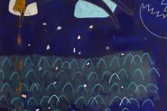 Mora - akril, marker, kreda, kolaž  na papiru, 70,7x100cm, 2018.