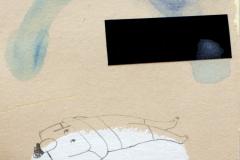 Nemoć - kolaž, olovka, akvarel, akril  na papiru, 13x15cm, 2018.
