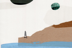 Par planeta i jedan lijepi pogled - kolaž, akril, marker, kreda, digitalni crtež, 30x40cm, 2019.