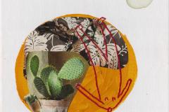 Sparina - kolaž, ručni vez, akril, akvarel na platnu, 21x21cm, 2019.