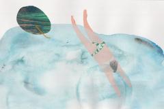 Tekući svemir - kolaž, akvarel, digitalni crtež, 29x21cm, 2019.