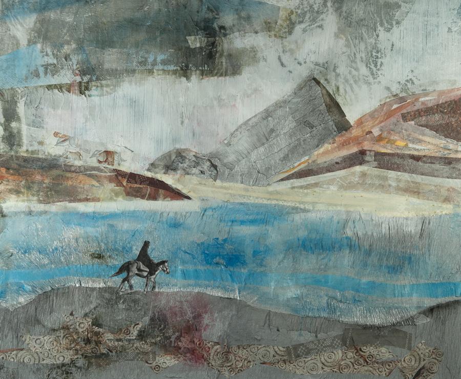 Ladakh (North India) - collage on canvas, 60x50cm, 2015.