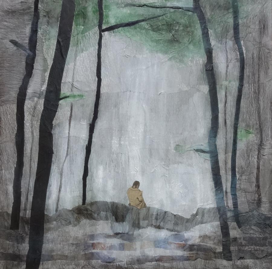 Yakushima (Japan) - collage on canvas, 60x60cm, 2015.