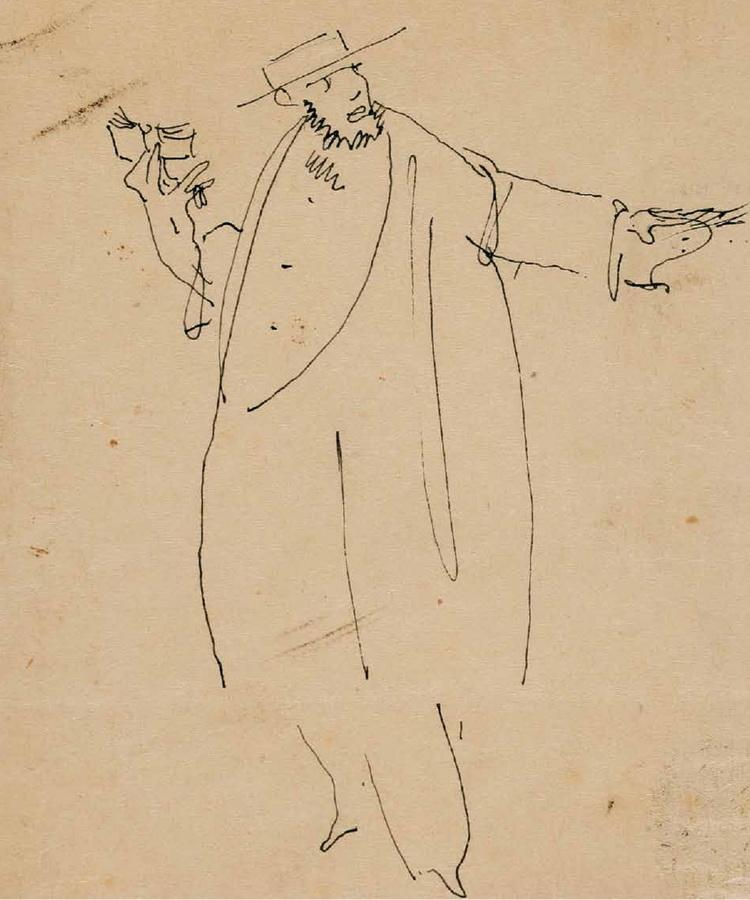 Autokarikatura (Autoportret s knjigom), 1912.