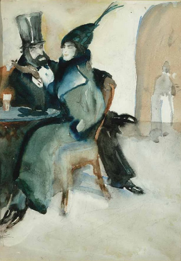 U kavani (na poleđini: Udvaranje), 1912.