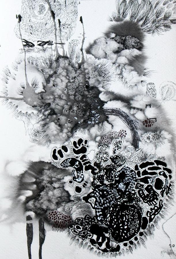 Ana Sladetić - Deset; crni tuš, bijeli tuš, kemijska olovka, flomaster, 36x24.7cm, 2018.