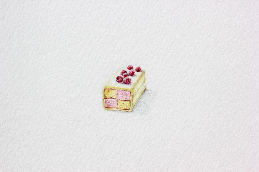 Nikolina Knežević - Battenberg Cake; akvarel, akril, drvene bojice, 19x21mm, 2018.