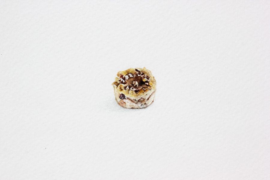 Nikolina Knežević - Bread Pudding; akvarel, akril, drvene bojice, 20x22mm, 2018.