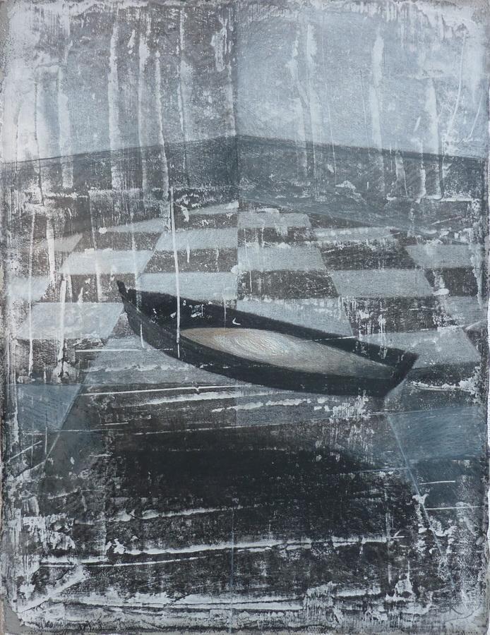 Zoran Kakša - San; monotipija, akrilik na platnu, grafit, olovke u boji, 24x18cm, 2018.