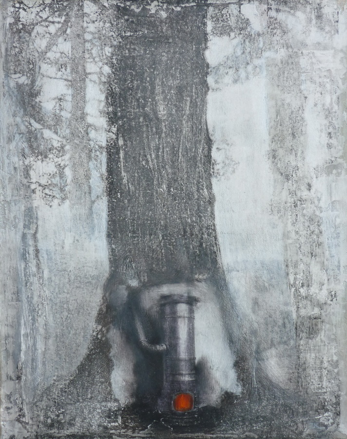 Zoran Kakša - Utočište; monotipija, akrilik na platnu, grafit, olovke u boji, 25x20cm, 2018.