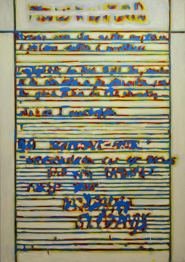 Janko Ivčić - Kriptogram 7; akrilik na platnu, 125x170cm, 2017.