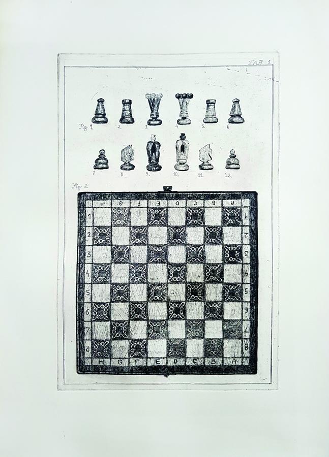 Miran Šabić - Dedin šah; bakropis/suha igla, 49x69cm, 2018.