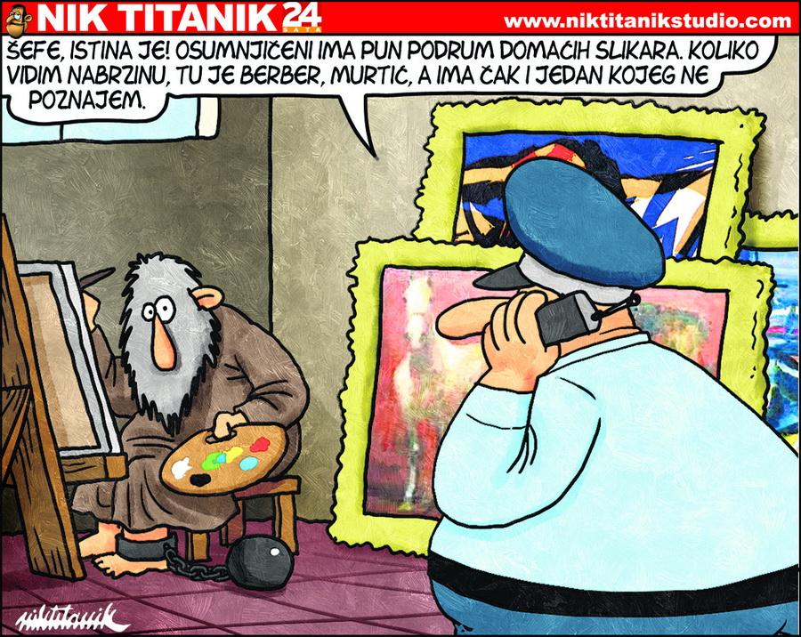 Nik Titanik - Karikature na temu umjetnosti; karikature crtane rukom digitalnim alatima, 21x30cm, 2005-2018.