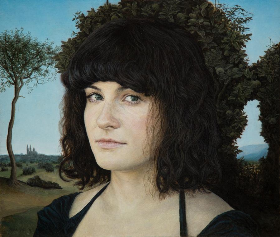 Rene Grgić-Đaković - Valentina ispred stabla dunje; ulje na dasci, 30.6x36.1cm, 2018.