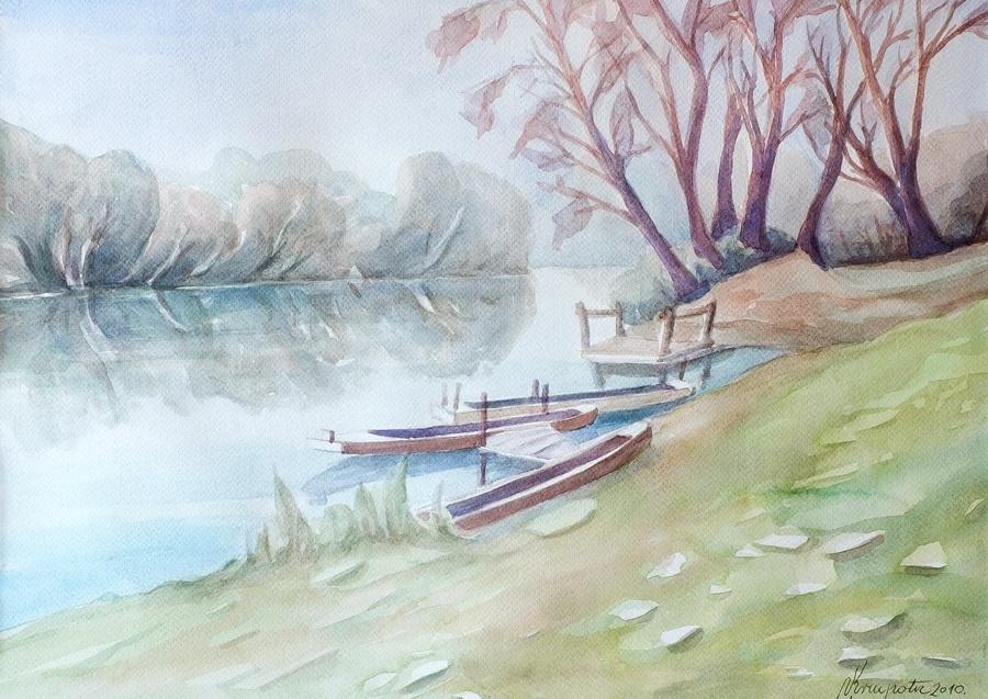 Čamci na Kupi - akvarel, 2010., 35x51cm